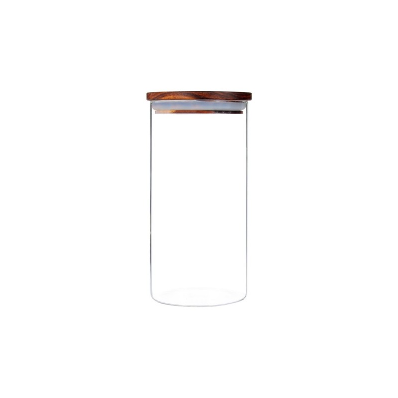 Recipient Zokura, 1150 ml, sticla borosilicata, inchidere etansa, capac lemn 2021 shopu.ro