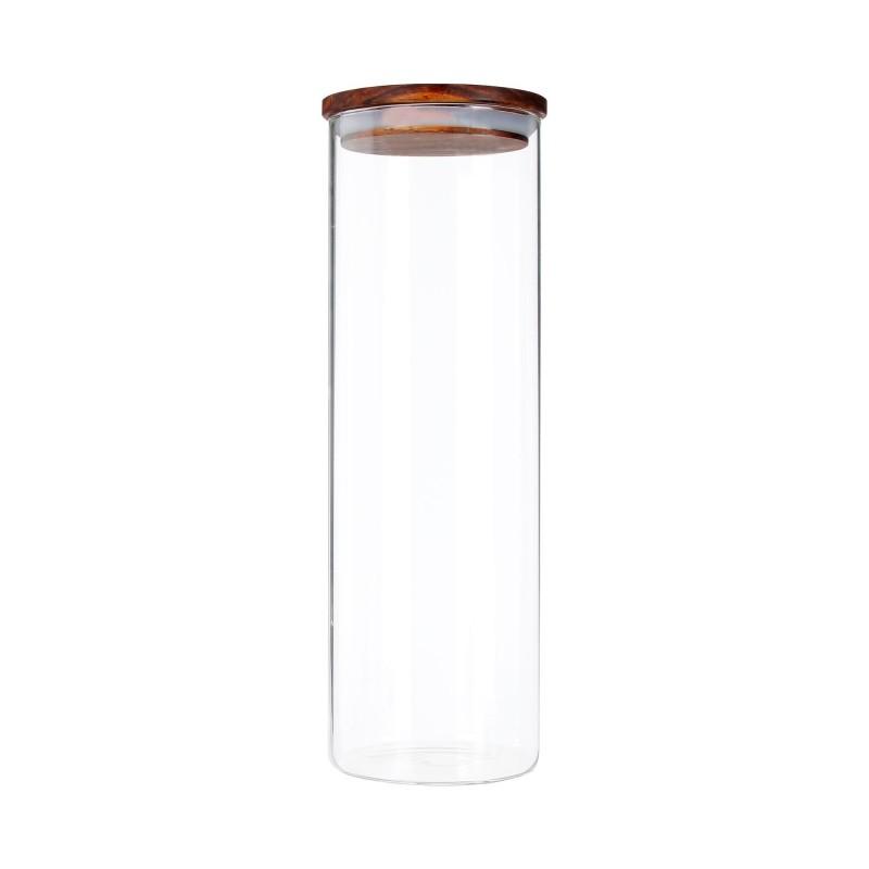 Recipient Zokura, 1850 ml, sticla borosilicata, inchidere etansa, capac lemn 2021 shopu.ro