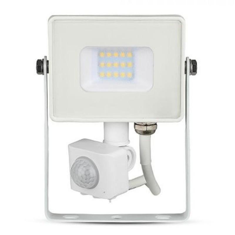 Reflector LED, 10 W, 800 lm, 4000 K, senzor miscare, lumina alb neutru, Alb