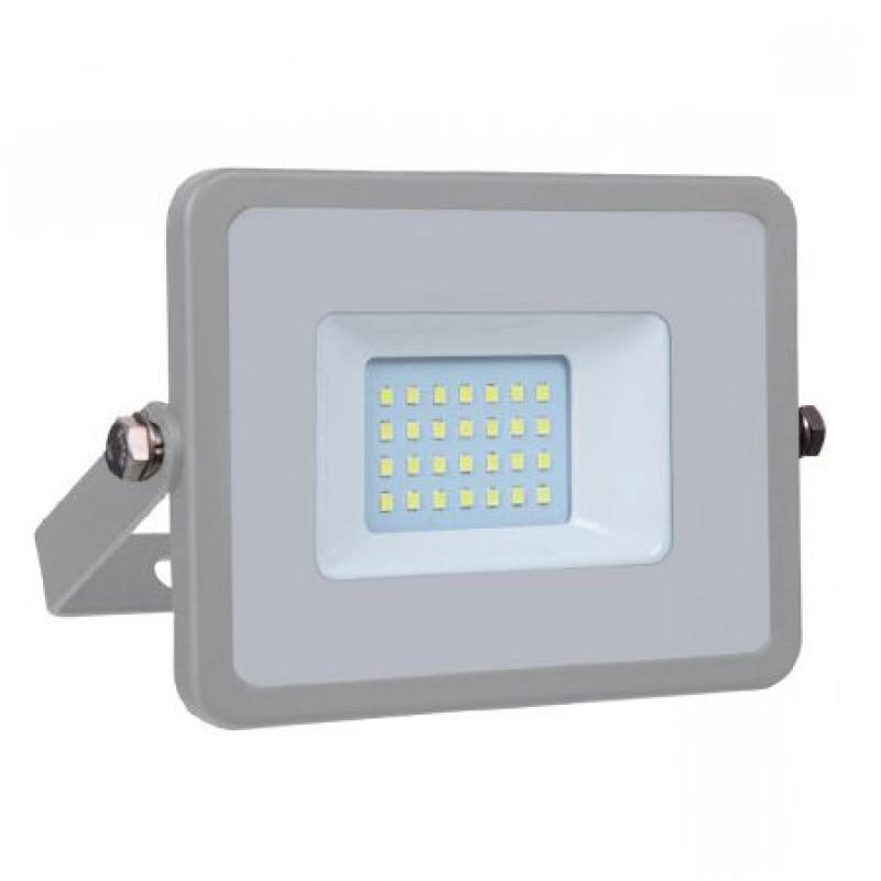 Reflector LED SMD, putere 20 W, 1600 lm, 6400 K, alb rece, cip Samsung, rama gri 2021 shopu.ro