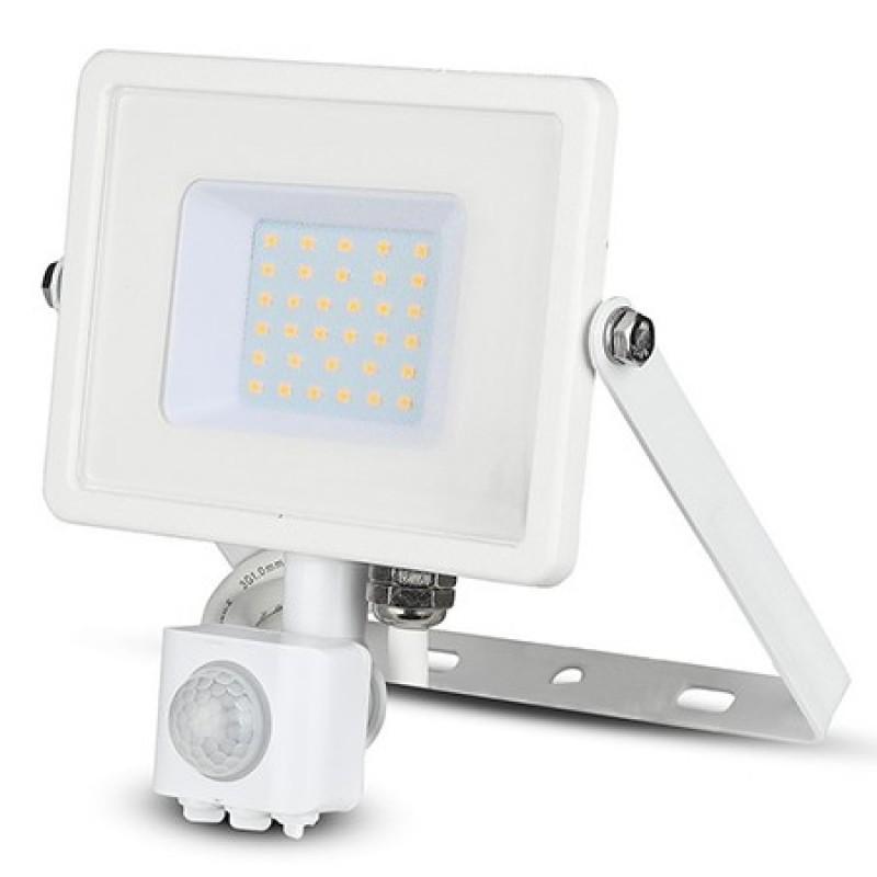 Reflector LED SMD V-tac, 30 W, 2400 lumeni, 4000 K, IP44, senzor de miscare, IP65, Alb 2021 shopu.ro