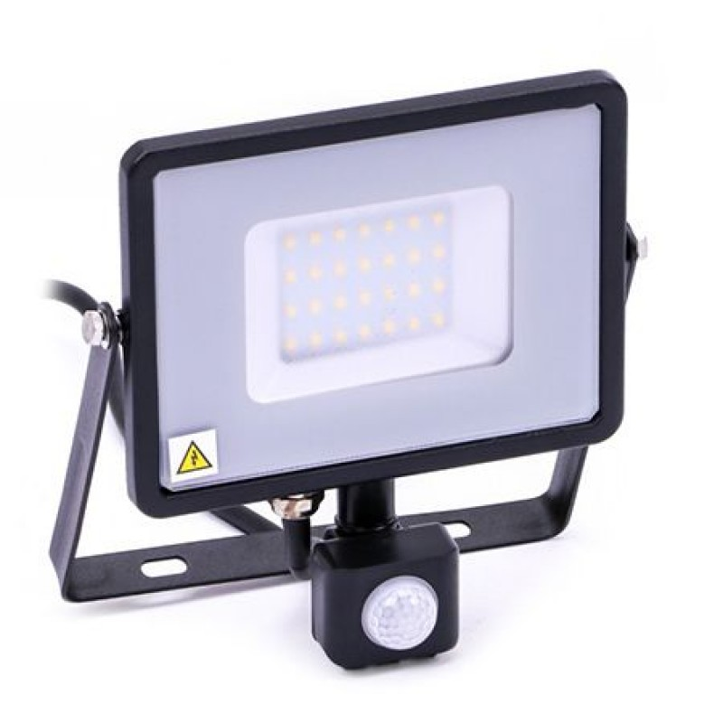 Reflector LED SMD cu senzor miscare, 30 W, 2400 lm, 6400 K, Negru/Gri