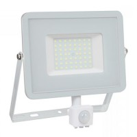 Proiector V-Tac cu LED SMD, 50 W, 6400K, IP65, senzor de miscare, CIP Samsung, Alb