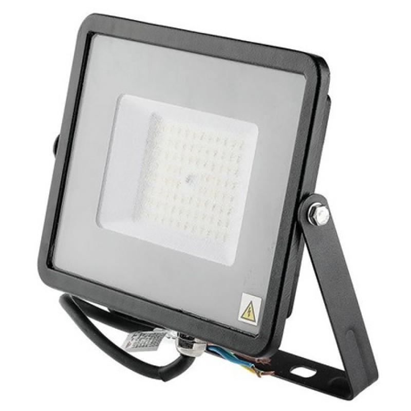 Reflector LED SMD V-Tac, 50 W, 4000 K, IP65, 6000 lumeni, chip samsung, aluminiu, Negru 2021 shopu.ro