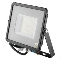 Reflector LED SMD, 50 W, 6400 K, alb rece, cip samsung, model slim, Negru