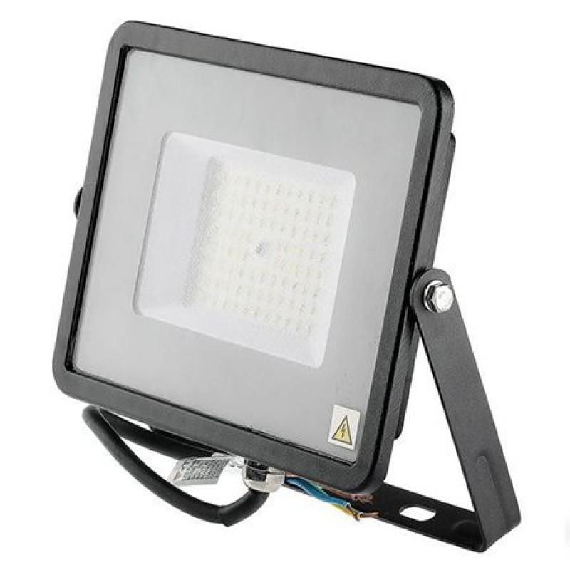Reflector LED SMD, 50 W, 6400 K, alb rece, cip samsung, model slim, Negru 2021 shopu.ro