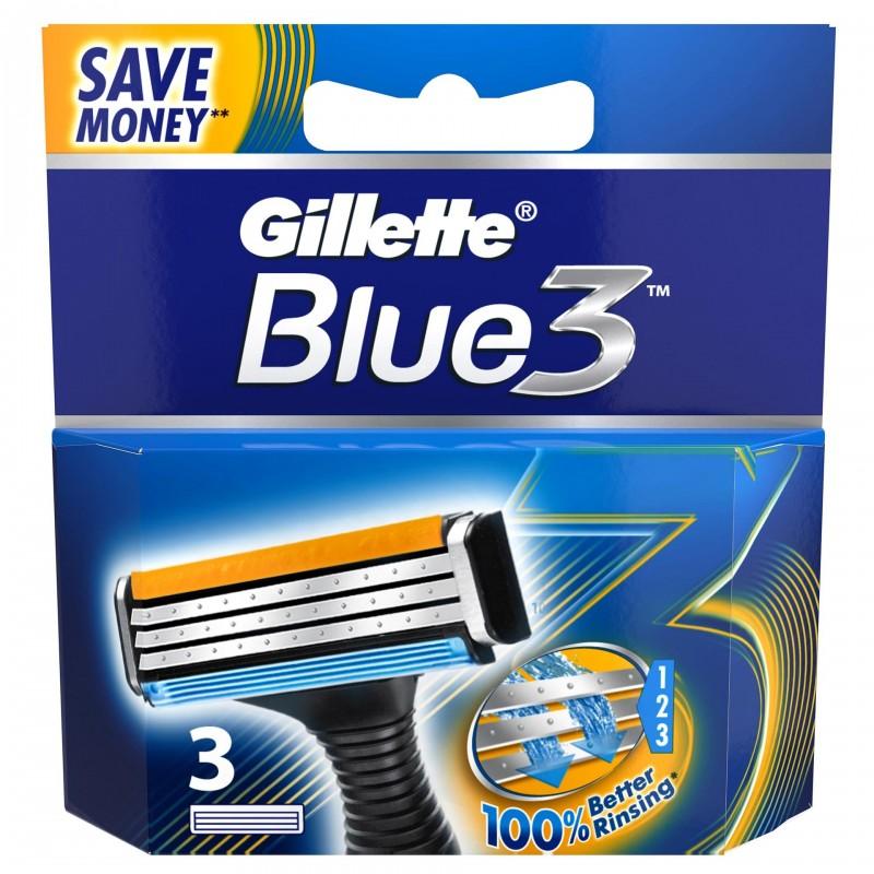 Set 3 rezerve pentru aparat de ras Gillette Blue3, 3 lame, cap pivotant 2021 shopu.ro