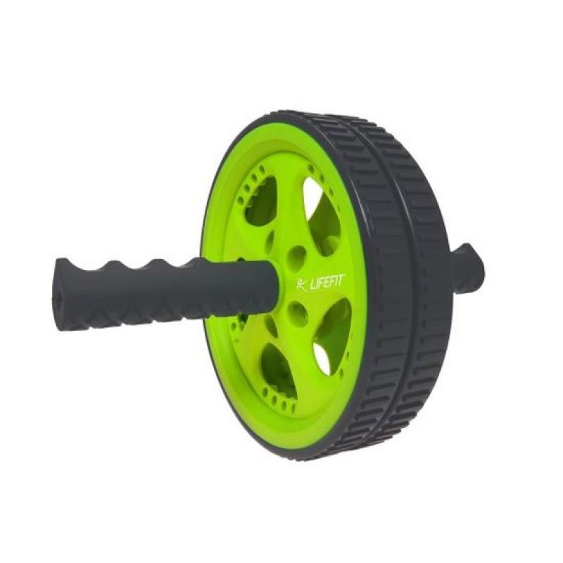 Roata pentru exercitii Lifefit, dubla, Negru/Verde 2021 shopu.ro