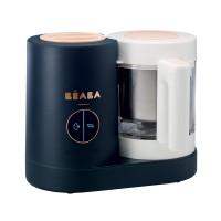 Robot Babycook Neo Night Beaba, 4 setari, vas sticla 1250 ml, cos otel, semnal sonor, Bleumarin