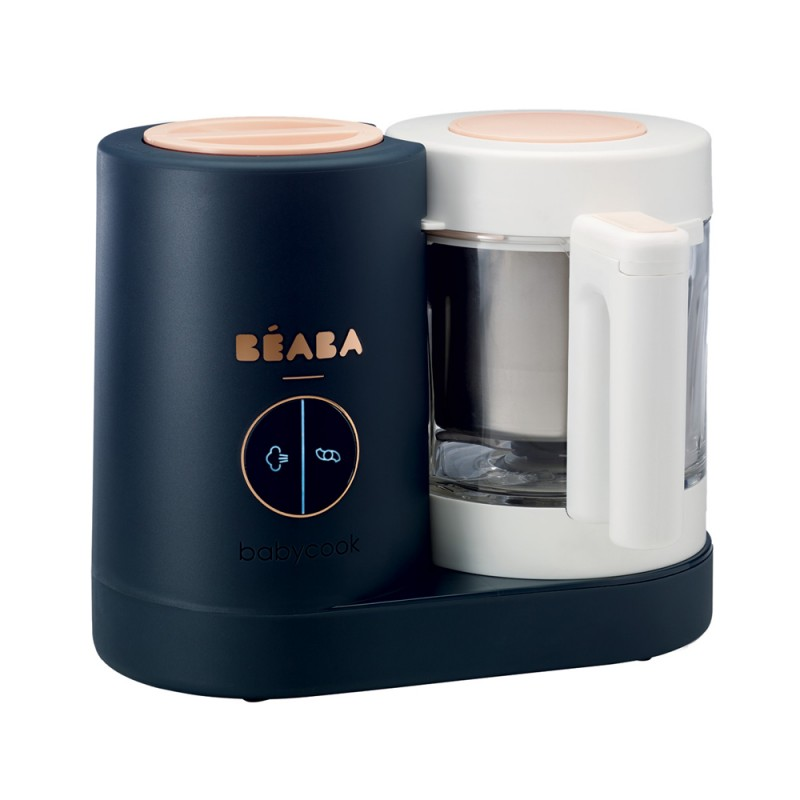 Robot Babycook Neo Night Beaba, 4 setari, vas sticla 1250 ml, cos otel, semnal sonor, Bleumarin 2021 shopu.ro