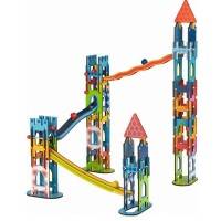 Set de constructie rollercoaster Castelul cavalerilor Goki, 7.4 x 10.5 cm, 79 piese, lemn, 3 ani+
