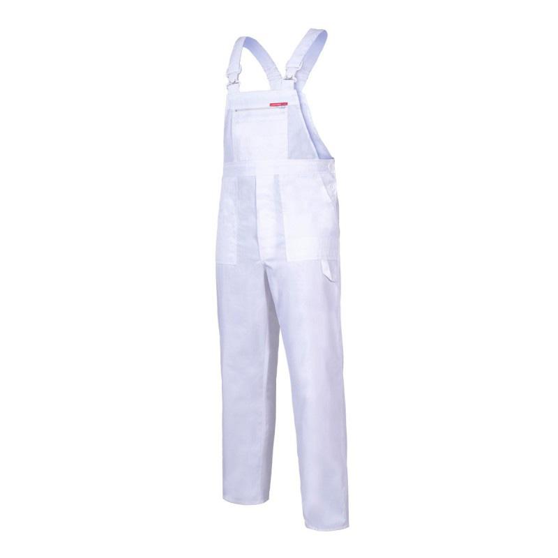 Salopeta lucru subtire, talie si bretele ajustabile, 6 buzunare, cusaturi duble, marime XL/H-182, Alb shopu.ro