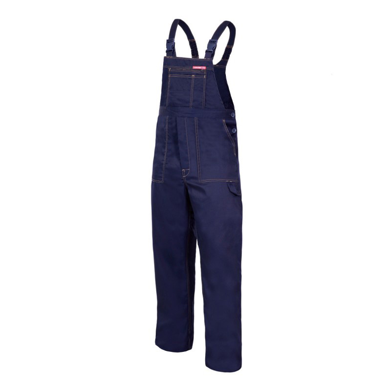 Salopeta lucru subtire, bretele ajustabile cu catarama si elastic, 6 buzunare, marime M/H-170, Albastru 2021 shopu.ro