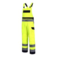 Salopeta reflectorizanta premium, 11 buzunare, cusaturi duble, bretele ajustabile, marime XL, Verde
