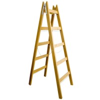 Scara lemn dubla Romprofix, lant sustinere, 255 cm, 7 trepte