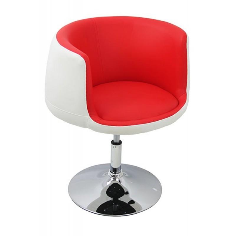 Scaun pentru bar, design rotund, spatar, piele ecologica, intaltime maxima 80 cm, rosu