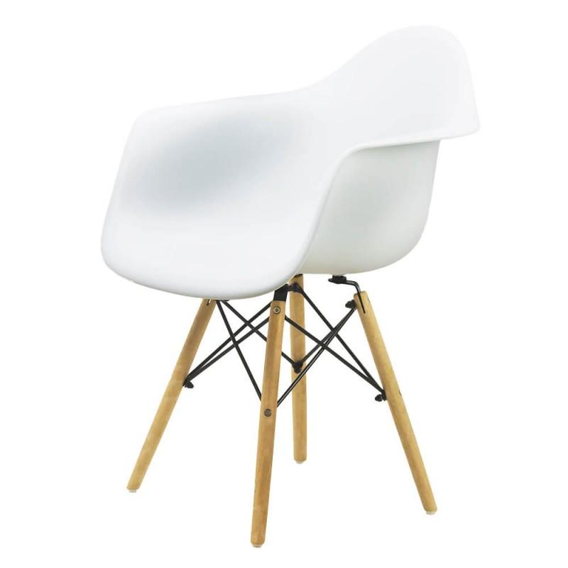 Scaun cafenea ABS, suporta maxim 100 kg, picioare lemn de fag, alb 2021 shopu.ro