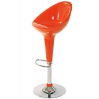 Scaun pentru bar, piele ecologica, inaltime 100 cm, baza metalica, portocaliu