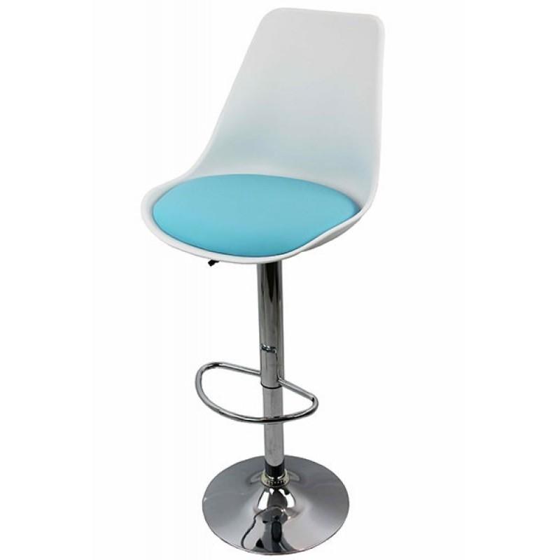 Scaun pentru bar, suport si baza cromata, maxim 100 kg, Albastru 2021 shopu.ro
