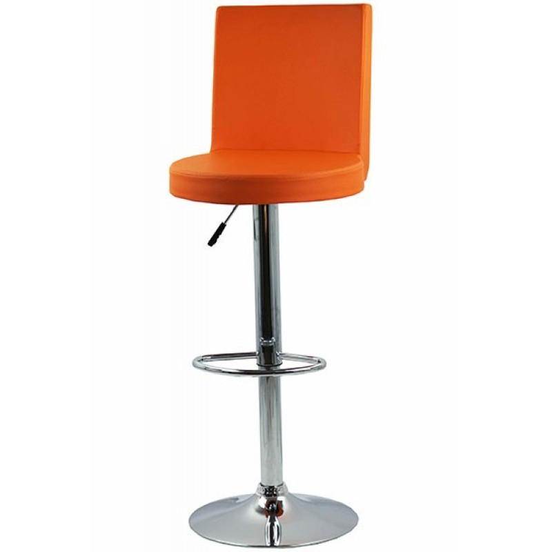 Scaun pentru bar, complet capitonat cu piele sintetica, inaltime maxima 112 cm, Portocaliu