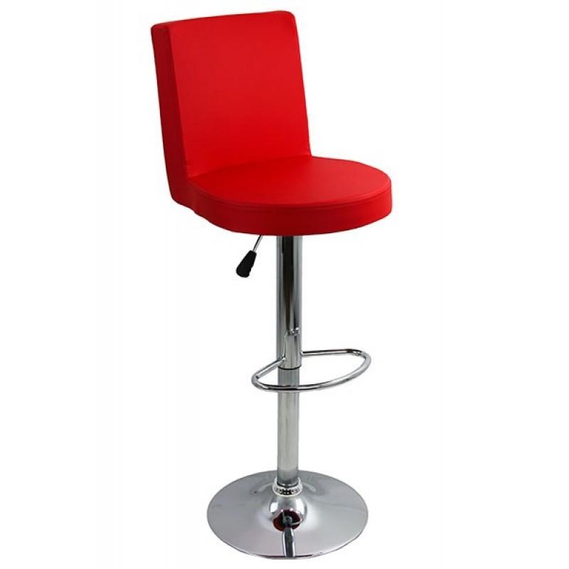Scaun pentru bar, complet capitonat cu piele sintetica, inaltime maxima 112 cm, Rosu