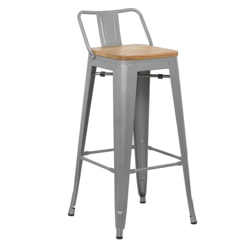 Scaun pentru bar, metalic, fix, inaltime 91 cm, maxim 100 kg, Gri 2021 shopu.ro
