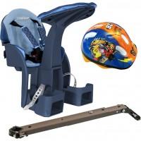 Scaun de bicicleta SafeFront Deluxe WeeRide, casca protectie inclusa, maxim 15 kg, 1-4 ani, model denim
