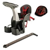 Scaun bicicleta WeeRide, 1-4 ani, maxim 15 kg, tetiera, centura siguranta, casca protectie Flames