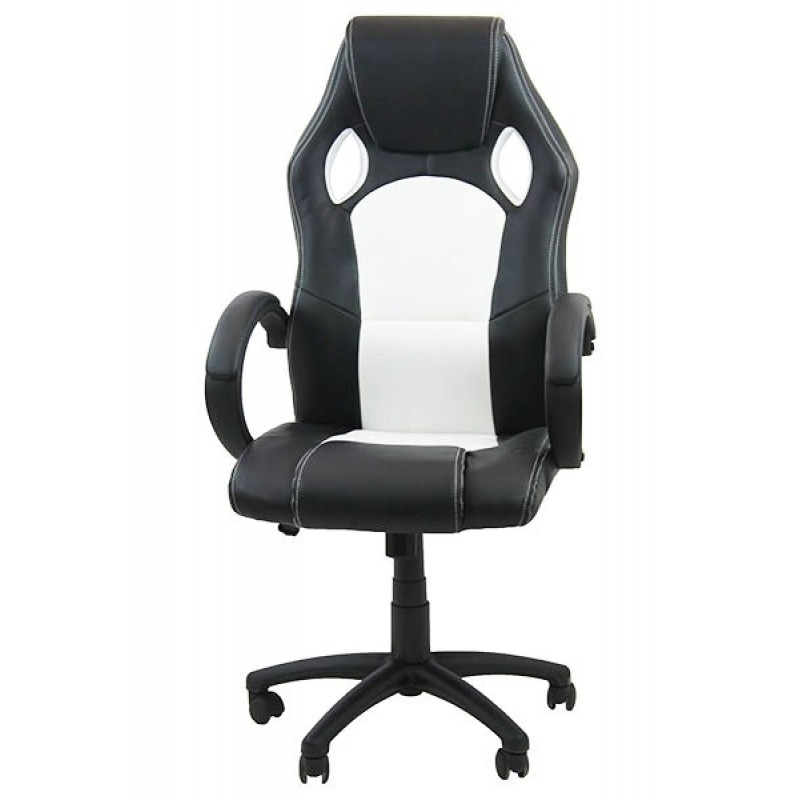 Scaun pentru gaming, inaltime maxima 130 cm, suporta 110 kg, Negru/Alb