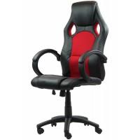 Scaun pentru gaming, inaltime maxima 130 cm, suporta 110 kg, Negru/Rosu