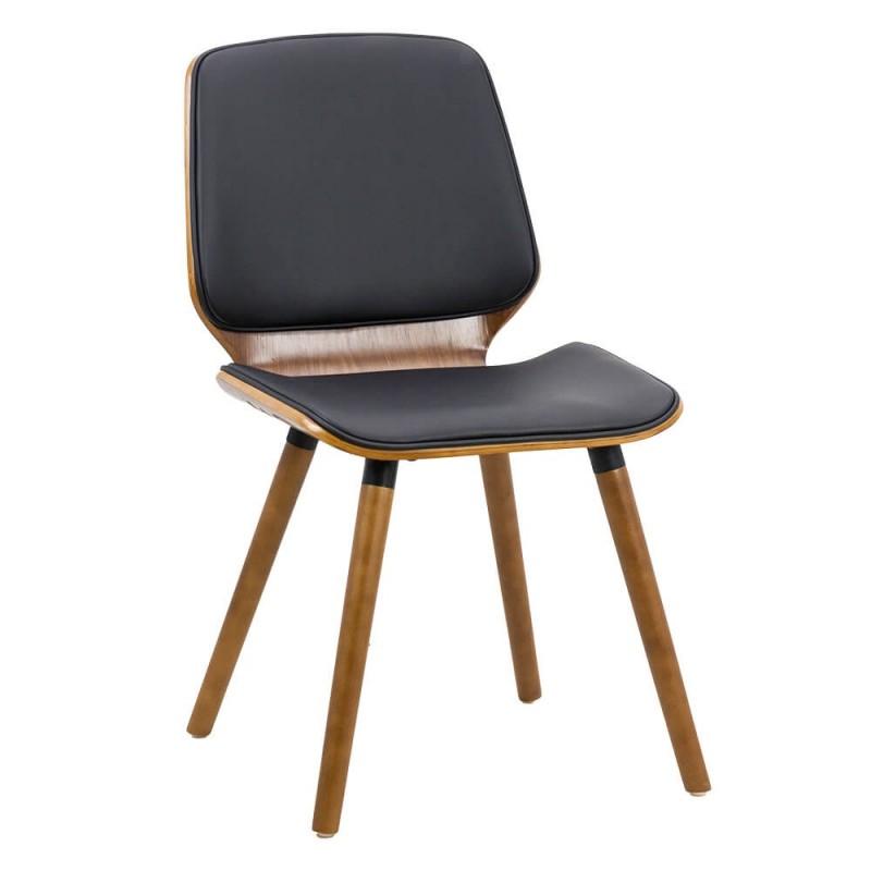 Scaun pentru bucatarie, lemn lucios, piele ecologica, inaltime 84 cm, Negru