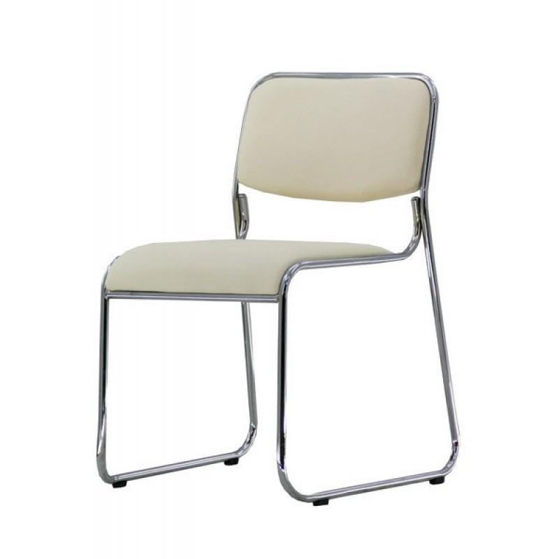 Scaun de conferinta, tapitat cu PVC, inaltime 77 cm, suporta maxim 120 kg, crem 2021 shopu.ro