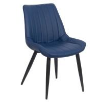 Scaun pentru dining, tapiterie piele ecologica, 4 picioare conice, inaltime 84 cm, Albastru