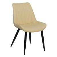 Scaun pentru dining, tapiterie piele ecologica, 4 picioare conice, inaltime 84 cm, Bej
