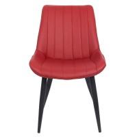 Scaun pentru dining, tapiterie piele ecologica, 4 picioare conice, inaltime 84 cm, Visiniu