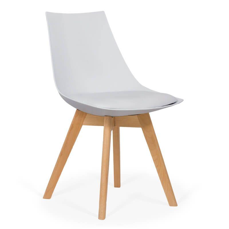 Scaun dining cu cadrul din lemn, maxim 110 kg, sezut plastic, Alb 2021 shopu.ro