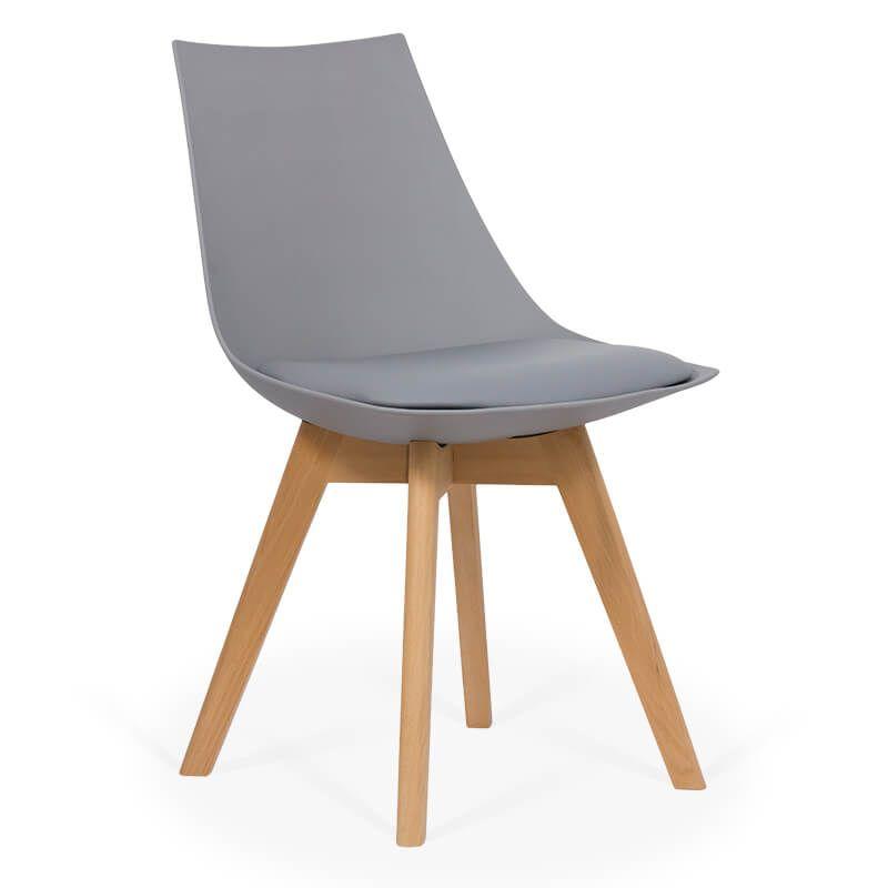 Scaun dining cu cadrul din lemn, maxim 110 kg, sezut plastic, Gri 2021 shopu.ro