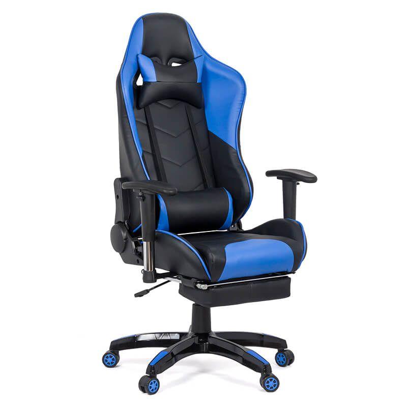 Scaun gaming din piele ecologica, maxim 110 kg, suport picioare, 2 perne detasabile, Albastru/Negru 2021 shopu.ro