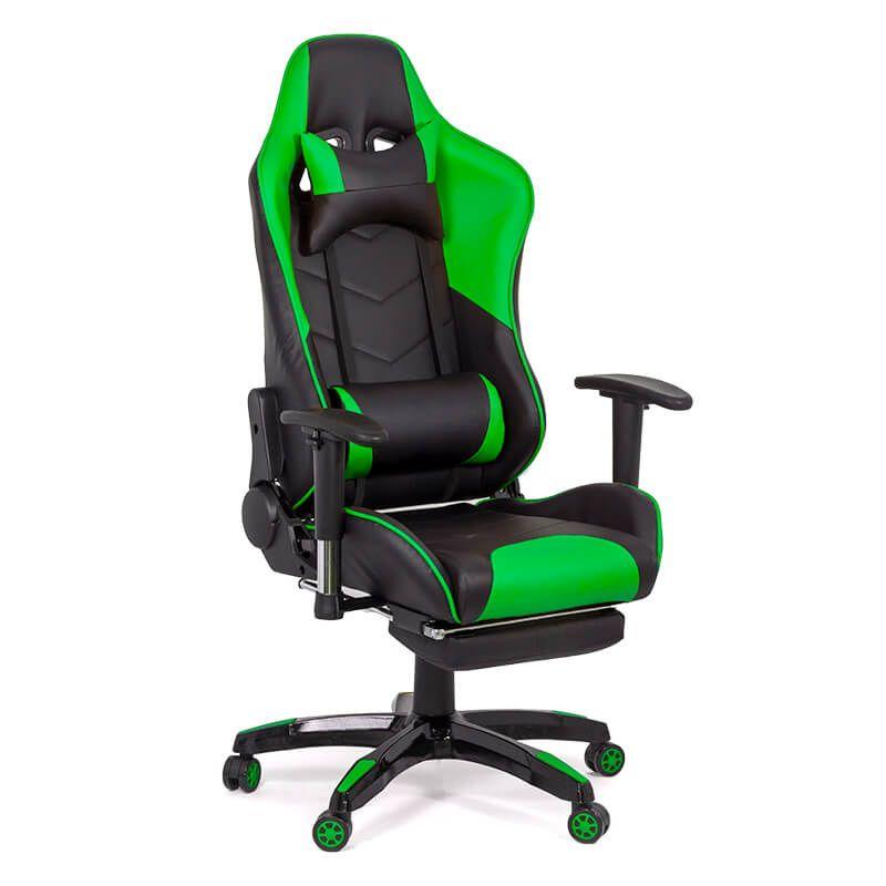 Scaun gaming din piele ecologica, maxim 110 kg, suport picioare, 2 perne detasabile, Verde/Negru 2021 shopu.ro