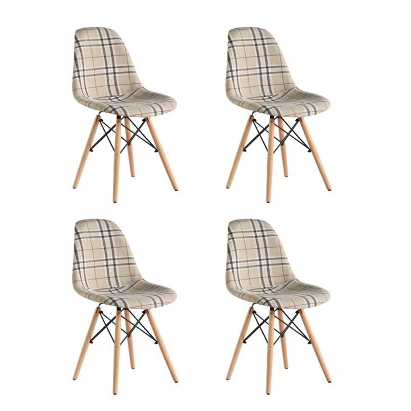 Set 4 scaune Truly Heinner, 83 x 57 x 58 cm, lemn de fag, tapiterie poliester, maxim 200 kg, Crem shopu.ro