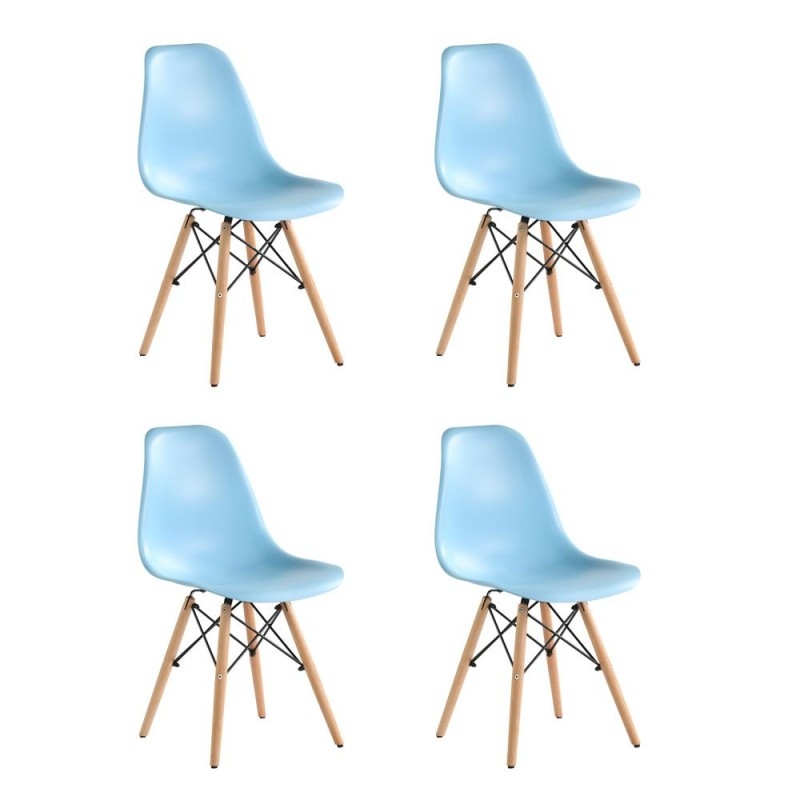 Set 4 scaune Truly Heinner, 82 x 58 x 57 cm, lemn de fag/otel, sezut plastic, maxim 200 kg, Albastru shopu.ro