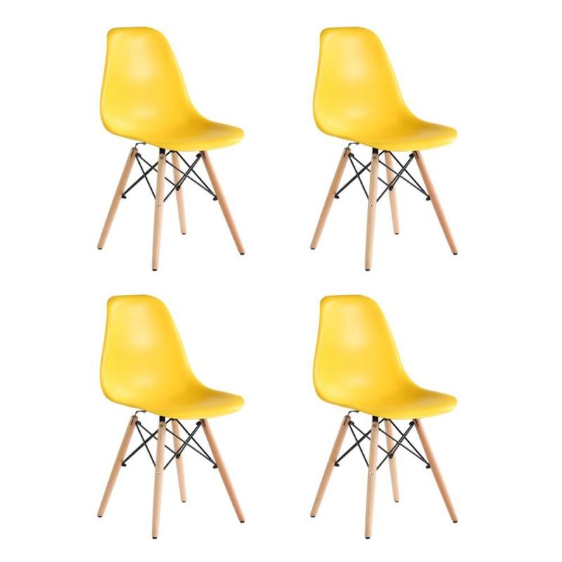 Set 4 scaune Truly Heinner, 82 x 58 x 57 cm, lemn de fag/otel, sezut plastic, maxim 200 kg, Galben shopu.ro
