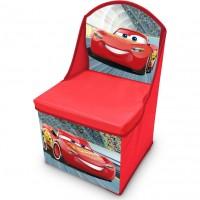Scaun pliabil cu spatar si spatiu depozitare Cars SunCity, 28 x 28 x 48 cm