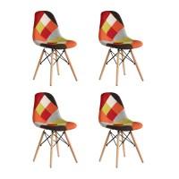 Set 4 scaune Truly Heinner, 83 x 57 x 58 cm, lemn de fag, tapiterie poliester, maxim 200 kg, Portocaliu