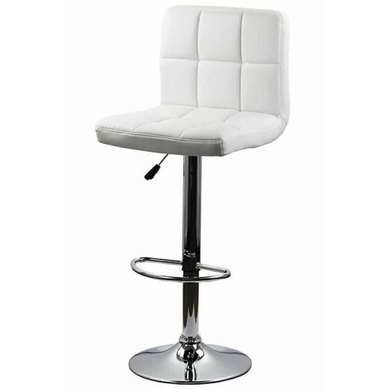 Scaun pentru bar, rotativ, otel cromat, piele sintetica, inaltime 113 cm, Alb 2021 shopu.ro