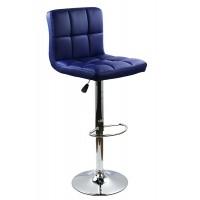 Scaun pentru bar, rotativ, otel cromat, piele sintetica, inaltime 113 cm, Albastru