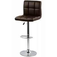 Scaun pentru bar, rotativ, otel cromat, piele sintetica, inaltime 113 cm, Maro