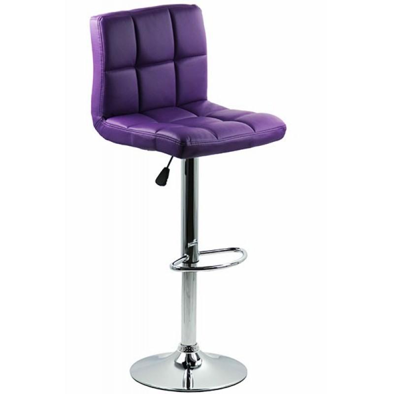 Scaun pentru bar, rotativ, otel cromat, piele sintetica, inaltime 113 cm, Mov 2021 shopu.ro