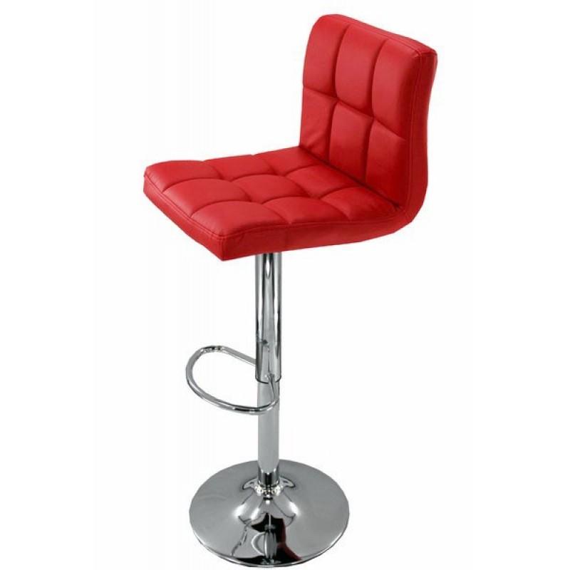 Scaun pentru bar, rotativ, otel cromat, piele sintetica, inaltime 113 cm, Rosu 2021 shopu.ro