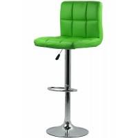 Scaun pentru bar, rotativ, otel cromat, piele sintetica, inaltime 113 cm, Verde